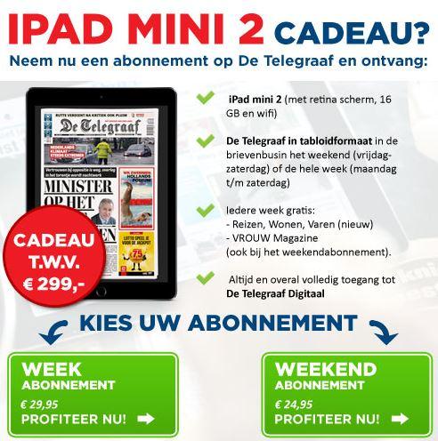 iPad mini 2 bij een abonnement op De Telegraaf
