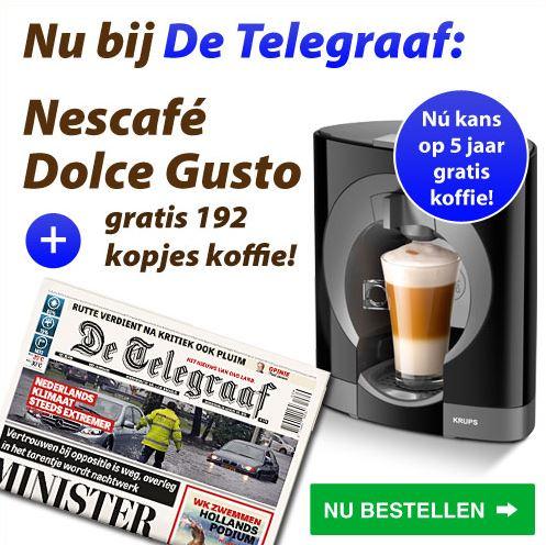 Een jaar gratis koffie bij De Telegraaf